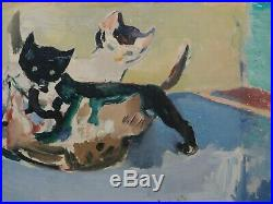 Vintage American Modernist Oil Painting Francis Chapin Kittens Cats Vintage NICE