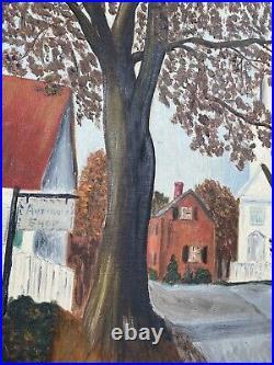 Vintage American Original Folk Art Landscape Painting Farm Town MCM Cottage 24