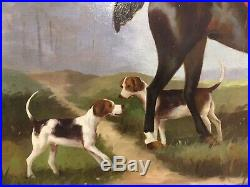 Vintage American Original Oil Painting English Fox Hunt Master Horse Hounds