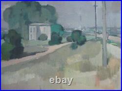 Vintage American Regionalism Painting Landscape Signed Mystery Artist Landscape