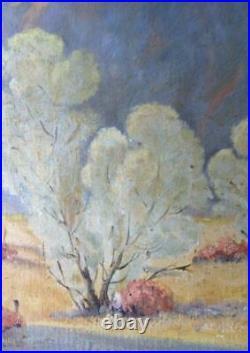 Vintage American Western Oil Painting Art Desert Landscape Signed D Stern Trees