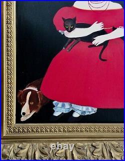 Vintage Americana Folk Art Girl In Red Dress Dog & Cat After Ammi Phillips $1.7m