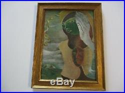 Vintage Antique 1940's Abstract Painting Cubist Cubism Man Face Surrealism Mod
