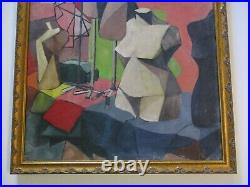 Vintage Antique 1940's Oil Painting Ritter Cubist Mannequin Abstract Nude Store