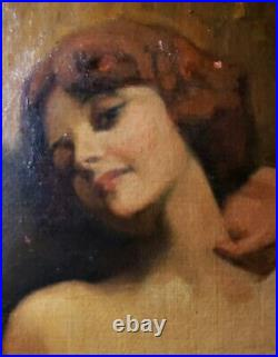 Vintage Antique American Impressionist Smithsonian Chicago Artist Nude Painting