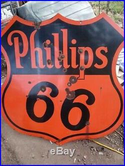 Vintage Antique Classic Phillips 66 Sign. 48 wide porcelain coated paint