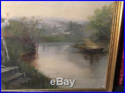 Vintage Antique Estate Country Scene Oil Painting On Canvas Artist Signed