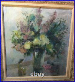 Vintage Antique Floral Bouquet Still Life Oil Painting On Canvas Artist Signed