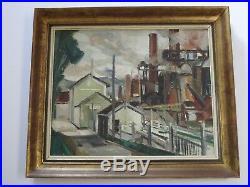 Vintage Antique Industrial Oil Painting Impressionism American Regionalism Urban