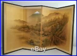 Vintage/Antique Japanese Painted Silk Screen 4-Panel Divider (Painting, Signed)