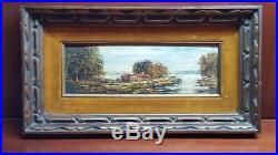 Vintage / Antique Landscape Impressionist Oil Painting On Board 4 x 12, Signed