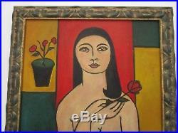 Vintage Antique Modernist Nude Painting Female Model Signed Mystery Artist 1930