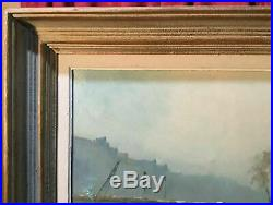 Vintage Antique Oil Painting On Canvas In Paris Artist Signed Morgan
