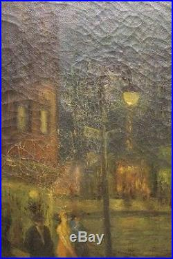 Vintage / Antique Oil Painting of Dark Scene Signed Everett Shinn Ashcan School
