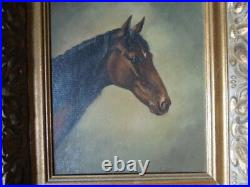 Vintage Antique Oil on Board Painting of Horse