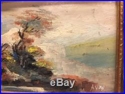 Vintage Antique Original Oil Painting MINIATURE Signed AY 5x4 Cliff, Tree