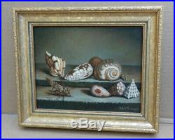 Vintage Antique Sea Shell Oil Painting Beach House Decor Signed