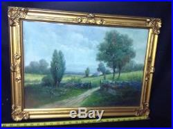 Vintage Antique Signed Pastel Painting Landscape Woman Stone Wall House Trees