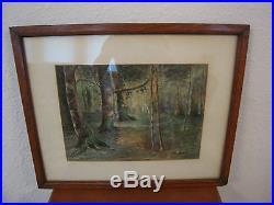 Vintage Antique Signed Watercolor Forest Woodlands Landscape Painting