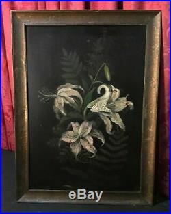 Vintage Antique Victorian Floral Botanical Still Life Oil Painting On Board