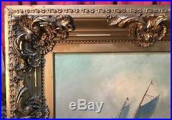 Vintage Antique Victorian Nautical Sailing Seascape Oil Painting On Canvas