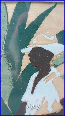 Vintage Art Caribbean Set Tropical Island Colorful signed by R. V. Mandeville