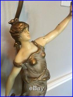 Vintage Art Nouveau Signed Louis Moreau Painted Figural Metal Pair Lamps