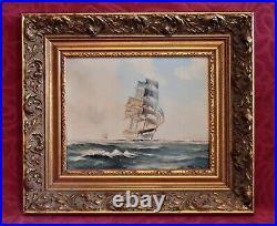 Vintage Arthur D. Pank Original Oil Marine Painting in Gilded Frame