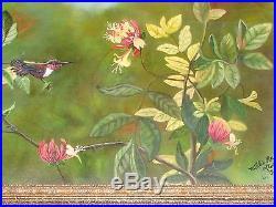 Vintage Artist Signed Floral Hummingbird Oil Painting Estate After Raffin