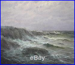 Vintage Artist Signed Realist Seascape Waves Maritime Oil Painting with Orig Frame