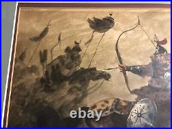 Vintage Asian Chinese Korean Ink Painting / Poem Signed Stamped Framed