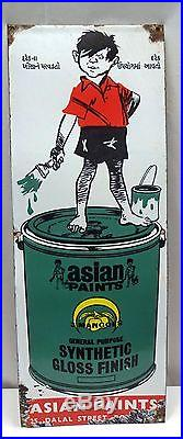 Vintage Asian Paint Color Old Porcelain Enamel Sign Synthetic Gloss Finish Rare