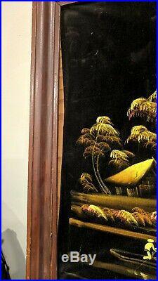 Vintage BLACK VELVET Moonlight Tiki PAINTING Signed 22 x 36 Framed CHANG