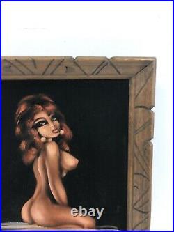 Vintage BLACK VELVET PAINTING nude woman risque wall art mid century modern 70s