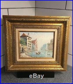 Vintage BURNETT Paris Scene Impressionist Oil PaintingGold FrameSigned 10x8