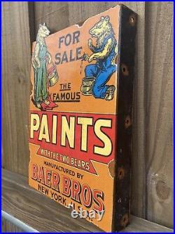 Vintage Baer Bros Paints Porcelain New York Bear Gas Oil For Sale Flange Sign