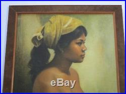 Vintage Bali Indonesia Nude Portrait Painting Dullah Style Signed Mystery Artist