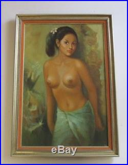 Vintage Bali Painting Nude Female Young Woman Model 1970 Island Tropical Signed