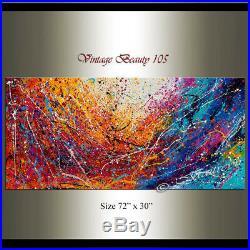 Vintage Beauty 105 painting Acrylic 72 Jackson Pollock style Abstract Art