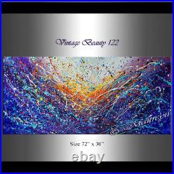 Vintage Beauty 122 Jackson Pollock 72 Painting, Drip Style Art, Blue Abstract
