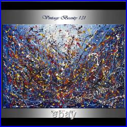 Vintage Beauty 131 Painting Jackson Pollock art 72 Drip Style Blue artwork