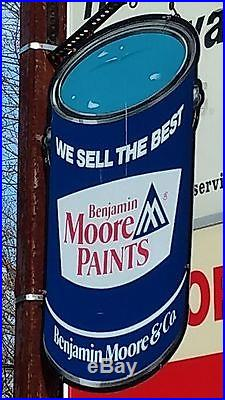 Vintage Benjamin Moore Paint Sign, Exterior Store Sign, Aluminum