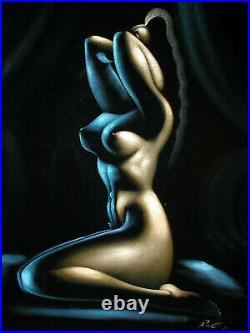 Vintage Black Velvet Female Nude Painting Mid Century Modern Signed