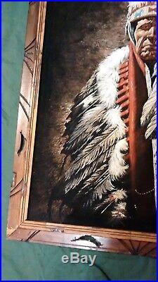 Vintage Black Velvet Native American Indian Chief Painting Signed Framed 40x28