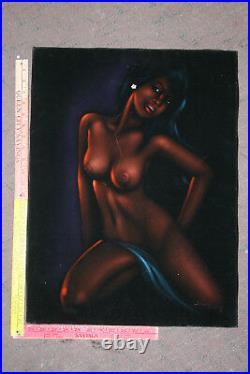 Vintage Black Velvet Nude Hawaiian Painting Artist Signed