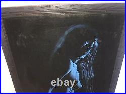 Vintage Black Velvet Nude Painting Female Woman Signed Framed Blue Large Artwork