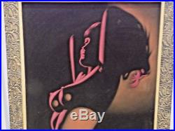 Vintage Black Velvet Nude Signed Painting Framed Retro Art