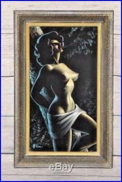 Vintage Black Velvet Nude Signed Painting Framed Retro Art 1960's