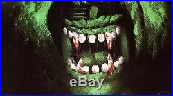 Vintage Black Velvet Painting Green Scary Monster Werewolf 1960's Mexico Signed
