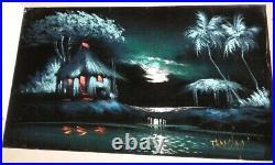 Vintage Black Velvet Painting Tropical Tiki Landscape Artist Signed